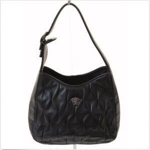 5c9eef6ff7 Versace Couture Black Lambskin Leather Evening Bag